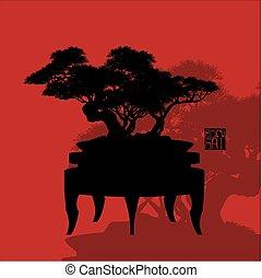 Bonsai tree, silhouette of bonsai, Detailed image, Vector illustration,