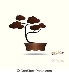 bonsai tree. - Vector of colorful tree, silhouette icons on ...