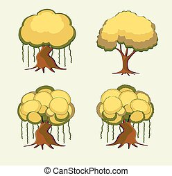 Bonsai Trees Vector Set