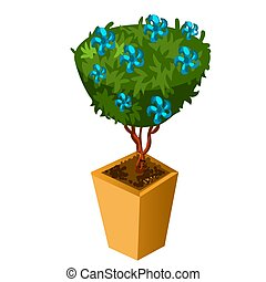 Bonsai with blue flowers isolated on white background. Vector cartoon close-up illustration.