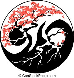 Bonsai Yin Yang - Black and white Bonsai tree in the Yin...