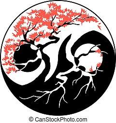 Bonsai Yin Yang - Black and white Bonsai tree in the Yin...