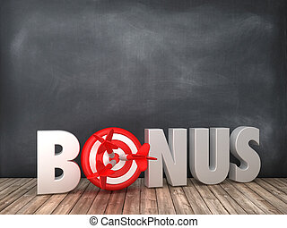 BONUS 3D Word with Target on Chalkboard Background