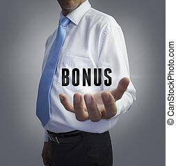 bonus, affärsman, ord, holdingen