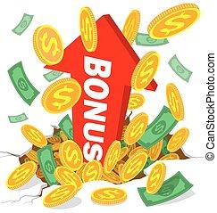 bonus and money, coins - money, coins and bonus alphabet ...