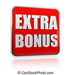 bonus, baner, röd, extra