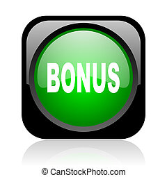 bonus black and green square web glossy icon