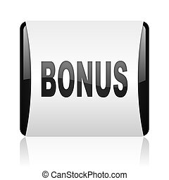 bonus black and white square web glossy icon