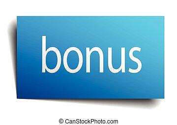 bonus blue square isolated paper sign on white