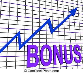 bonus, graf, kartlägga, ökning, extraförmåner, belöna, eller...