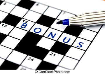 bonus, het oplossen, op, raadsel, kruiswoordraadsel, ...
