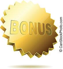 bonus, hintergrund., weißes, freigestellt, etikett