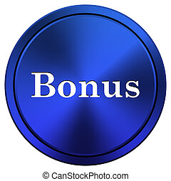 Bonus icon - Metallic icon with white design on blue...