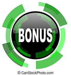 bonus icon, green modern design isolated button, web and mobile app design illustration