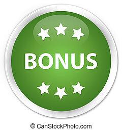 Bonus icon premium soft green round button