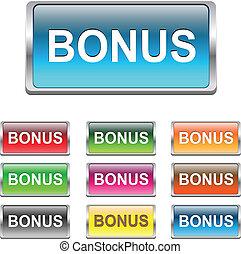 bonus, knäppas, sätta, vektor, ikonen