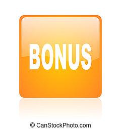 bonus orange square glossy web icon