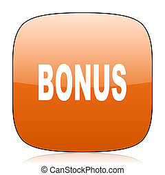 bonus orange square web design glossy icon