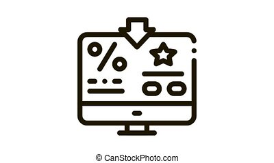 Bonus Percent Computer Information Icon Animation. black Bonus Percent Computer Information animated icon on white background