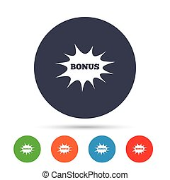 Bonus sign icon. Explosion cartoon bubble symbol.