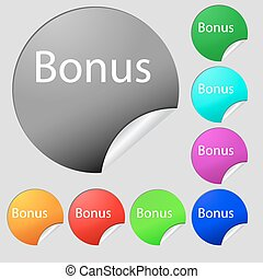 Bonus sign icon. Special offer label. Set of eight multi colored round buttons, stickers. Vector