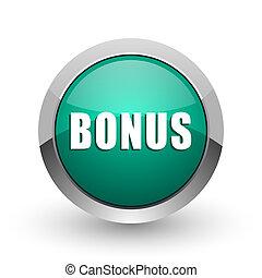 Bonus silver metallic chrome web design green round internet icon with shadow on white background.