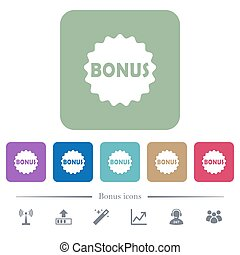 Bonus sticker flat icons on color rounded square backgrounds