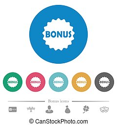 Bonus sticker flat round icons