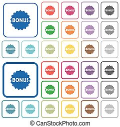 Bonus sticker outlined flat color icons