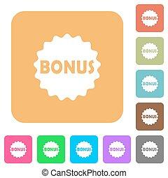 Bonus sticker rounded square flat icons