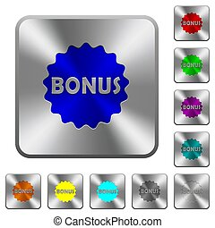 Bonus sticker rounded square steel buttons