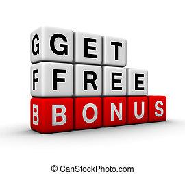bonus, symbol, gratis, få