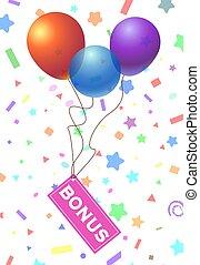 bonus text with balloon isolated on white background