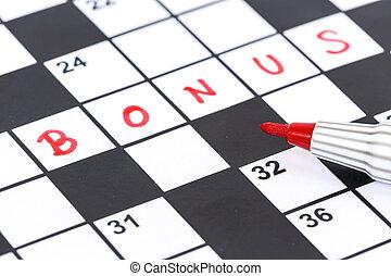 bonus, -, uppe, korsord, markör, nära, röd