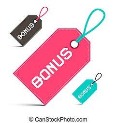 bonus, vektor, etiketten, satz, freigestellt, weiß, hintergrund