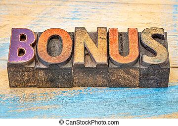 bonus word in letterpress wood type