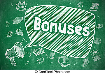 Bonuses - Cartoon Illustration on Green Chalkboard.