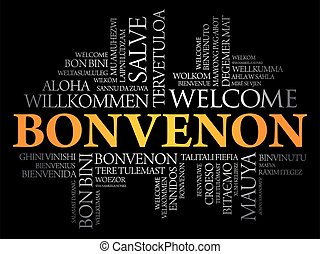Bonvenon (Welcome in Esperanto) word cloud in different ...