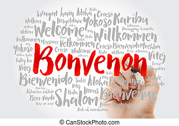 Bonvenon (Welcome in Esperanto) word cloud with marker in ...