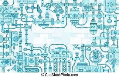 bonyolult, ipari, mechanisms, koholás