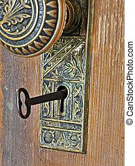 bonyolult, kulcs, doornob, retro, fém