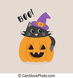 boo cute cat in pumpkin
