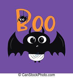 Boo halloween text, with cute blak bat, and little spider illustration graphic vector.