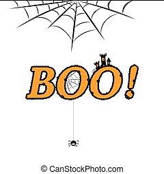 Boo halloween white poster design eps 10 vector