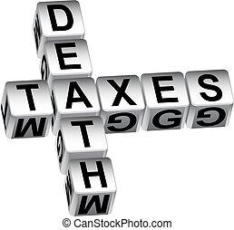 boodschap, dood, dobbelsteen, belastingen