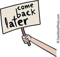 boodschap, later, komen, back