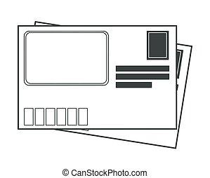 boodschap, of, post, kantoor, bedrukt, afdrukken, enveloppe, post