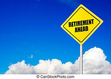 boodschap, pensioen, straat, vooruit, meldingsbord