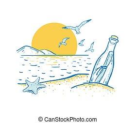 boodschap, ster, blauwe , zonopkomst, romantische, zee, strand, sunset., achtergrond, gele, zeemeeuw, schets, zomer, bottle., of, colors.