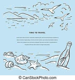 boodschap, template., flyer, ontwerp, web, romantische, zee, kaart, strand, marinier, vector, schets, banieren, bottle., seagulls, seashells, uitnodiging, ster